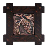 Wood Frame with Pine Cone Tile