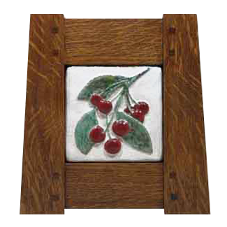 Wood Frame with Cherries Tile